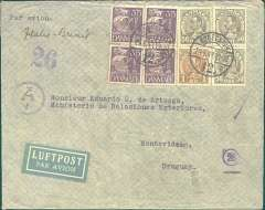 "(Denmark) Denmark to Uruguay, flown by LATI, an extremely rare censored WWII etiquette airmail cover from Copenhagen to the Ministry of External Affairs, Montevideo, bs 22/7/41, franked 390 ore canc Copenhagen 24/6/41 cds, ms ""Italie - Brasil"", typed  'Par Avion', blue 'Ad' in circle German censor mark, indicating inspected in Munich, but not opened, also purple '26' in circle additional German censor mark. Flown Lufthansa from Copenhagen-Frankfurt, air or rail to Rome, LATI to Rio, Syndicato Condor to Buenos Aires, then Condor to Montevideo, thus avoiding British censorship on the Pan Am North Atlantic service. This cover was carried on the last E-W LATI flight to terminate at Rio - the Rio-Buenos Aires extension opened on 22/7/41. Very fine and rare - an outstanding exhibit item."