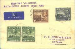 "(Malta) F/F Malta to Naples, bs 7/6, franked 4d canc Air mail/Malta cds, violet two line ""Primo Volo Ala Littoia/Malta-Catania-Palermo-Napoli-Roma"" flight cachet, par Avion etiquette, Ala Littoria, only 14 flown, se Corsari&Simoni p221. A scarce item in superb condition."