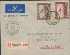 "(Belgium) First acceptance of Belgian mail for the Eastern Congo for carriage by Imperial Airways East Africa service, Brussels to Goma, via Rutshuru 9/8 and Kampala 6/8, imprint etiquette registered (label) cover franked 6F +25c verso, canc Bruxelles 2/8 cds, typed ""By Imperial Airways"". Imperial AW flying boats were serving East Africa 3x week, so it was better for mail for the Eastern Cong to travel via Port Bell (Kampala)."