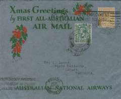 "(GB External) Tasmania acceptance for Kingsford Smith's return flight, England to Australia,"" All the Way"" Christmas and New Year flight, London to Hobart, bs 23/1/32, via Melbourne, 22/1/32, grey/red/green ""Xmas Greetings"" Australia National Airways souvenir cover, correctly rated 1/4d, canc London FS/Air Mail cds. Francis Field authentication hs verso."
