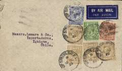 "(GB External) Railway TPO early airmail cover, GB-Chile via Air France, London to Iquique, bs, via Santiago 26/10, pale grey cover with dark blue/white airmail etiquette, correctly rated 4/2air + 3d surface, franked KGV 1/- x4, 2 1/2d, 2d, 1/2d, cancelled (uncommonly for airmail) ""UP SPECIAL Gi T.P.O./10 OC 30"". Posted on the Glasgow section of the Aberdeen-London (Euston) Railway TPO, which operated from a parcels van with no postings box, hence no town postmark. A nice exhibit item."