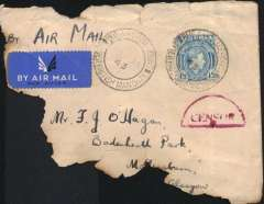 "(Nigeria) WWII censored military aircraft crash on the Air Transport Command route carrying mails from British West African Colonies. Plain airmail etiquette cover, 35% charred, addressed to Glasgow, no arrival marks, franked Nigeria KGVI 1/3, canc ""Buea-Cameroons/16 Jan 43/Under British Mandate"", ms ""By Air Mail"", red Nigeria half circle censor mark. Cachets were not applied to mails recovered on this service to ensure that no information might leak through to the enemy. Unlisted in Nierinck, but a letter from Francis Field, dated 7/7/52, accompanies this lot. It guarantees this cover to be ""a genuine accident mail souvenir which was was involved in an RAF plane crash over North Africa when most of the mail was burned beyond recognition"". This cover is ex McCaig and is illustrated in West African Airmails, The McCaig and Porter Collections, Priddy, B., West Africa Study Circle, 2002, pp 154,155.  A truly rare and historical WWII item."