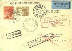 "(Austria) First acceptance for the Belgian Congo from Austria, Vienna to Coquilhatville, 28/2 arrival ds front and back, plain card carried on the first regular SABENA flight by the aircraft ""Edmond Thieffrey"" from Brussels to Leopoldville via Marseilles-Oran-Colomb Bechar-Reggan-Gao-Niamey-Zinder-Fort Lamy-Bangui-Coquilhatville, franked Austria 1925 air 10g & 30g, red framed bilingual French/Flemish F/F cachet. 26 flown."