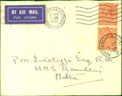 (Malta) Imperial Airways first duplicate eastbound service from London to Calcutta, flight # IE 302, see Wingent p131. Inward airmail cover from London to Malta, bs Valletta 5/1, via Rome, Posta Aerea/Roma Ferro via transit cds, addressed to a crew member of HMS 'Ramillies'. HMS Ramillies was a Revenge-class battleship, launched in 1916. She was sent to support the British presence in Palestine in 1929, was on convoy escort duty from Alexandria to Malta during October/November 1940 and, in late November 1940, joined the Mediterranean fleet to form part of the escort for four merchant ships bound for Malta with much needed supplies. She later saw active service in the Indian Ocean, the Far East and the North Atlantic and, on 6 June 1944, she provided fire support for the Normandy Landings. A super exhibit item.