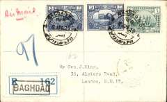 "(Iraq) Imperial Airways, F/F Baghdad to England, registered (label) cover franked 12annas, canc Baghdad cds, bs London '14 AP 29' hooded registered cds, carried by ""The City of Baghdad"". Rated 110 units by Newall, p108, registered covers are even scarcer."
