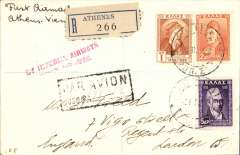 """(Greece) Imperial Airways F/F Athens to Vienna , bs 3/8, plain registered (hs) cover franked 8dr, canc Athens 2/8 cds, red two line """"By Imperial Airways/…..Air Mail"""" flight cachet, black framed """"Par Avion/Jusqu'a (ms WIEN)"""", ms First Airmail/Athens-Vienna"""".  This cover is also a F/F of the accelerated India-England service, when the rail section of the European section was reduced to just between Salonika and Uskub. An interesting item in fine condition."""
