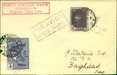 """(Greece) Scarce Imperial Airways F/F Salonika to Baghdad, bs 16/4, carried on the England-India service, plain Drossos cover franked Independence 3d & 4d, fine strike red framed """"First Airmail frm/salonika/England-India Line"""" flight cachet, blue framed """"Par Avion/Jusqu'a (ms) Baghdad"""" cachet. Only 19 flown."""