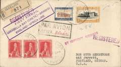 """(Greece) First acceptance for USA from Crete, Crete to Oregon, bs Portland 29/11, via Brindisi 12/11, 'Amb Brindisi-Bologna, TPO 12/11, 'Turin Ferr. America' 14/11, & Chicago 27/11 transit cds's, flown on Imperial Airways F/F Mirabella Bay (Crete) to Brindisi, Drossos registered (label) cover franked 1927 10lx3, 1d & 5d, black framed """"Par Avion/Jusqu'a (ms) Brindisi"""" hs tying purple framed """"First Airmail/Mirabella Bay (Crete)-Brindisi/England-Africa Line"""" flight cachet. Great routing."""