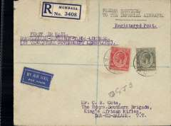 """(Tanganyika) Tanganyika Government Feeder Service, Mombassa to Dar es Salaam, bs 23/10, registered (label) Cota cover addressed to HQ, Kings African Rifles, franked 65c, typed endorsement """"First Air Mail/ Dar es Salaam-Zanzibar-Tanga-Mombassa/By Tanganyika Government Aeroplane"""", white/blue etiquette. Carried on return of first regular feeder service to connect with  IAW at Kisumu via rail Mombassa-Nairobi, then by Wilson AW from Nairobi-Kisumu. Small mail."""