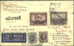 """(India) Scarce first inward acceptance, Brussels to Quetta, bs 7/12, via Lahore 6/12, carried from Karachi on the inaugural India National Airways Karachi-Sukkur-Lahore service, plain JS Davies airmail etiquette cover franked 5F, 1.50F airs, 20c, 5c ordinary, canc Brussels cds, black framed """"Karachi-Lahore/6 Dec 34/First Airmail"""" cachet front and verso, green straight line """"First Flight"""" hs, typed """"By Air in India/First Flight from Karachi""""."""
