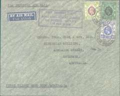 """(Hong Kong) Imperial Airways, first acceptance of mail for Australia, bs Brisbane 2/4, for carriage on the 1st dispatch of the Hong Kong-Penang Feeder service, plain cover correctly rated 80c, framed violet """"First through flight/Hong Kong-Penang-London/27th March 1936"""" cachet, ms """"First Flight Hong Kong/Australia, flown to Penang to connect with IAW flight #IE429 to Australia, see Wingent p166. Nice item."""