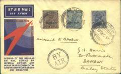 """(Bahrain) F/F Bahrain to Bandon, bs 21/12, carried on the inaugural flight of Imperial Airways/ITCA extension of Indian route to Singapore, franked 1933 opts 1a, 3a (cat £500 used on cover), and 3a.6p, canc fine strike Bahrain 13 Dec 33 cds, black circular """"By Air"""" cachet, official red/blue speedbird souvenir cover. Rare item in fine condition,"""