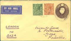 (GB External) Rare F/F London to Gaza, bs 4/4, carried on Imperial AW first regular flight to India, PSE 1 1/2d with correct additional airmail surcharge of 2 1/2d, canc Dorchester 28/3 cds, ms 'London to Gaza'. IAW had completed preparation for a service between London and Karachi as early as 1926, but political difficulties arose over the question of operating along the Persian shores. These were not surmounted until 1929, when a three year agreement was entered into with the Persian Government and, at the same time, negotiations for a service between London and Cairo also came to fruition. A scarce item in superb condition. According to Newall only three were carried to Gaza, see p293.