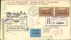 "(Canada) First acceptance of airmail 'flown all the way' from Canada to Greece, bs Athens 30/6, carried on Pan American first transatlantic return flight Shediac to Southampton, then OAT by Imperial Airways London-Australia service, registered (hs) etiquette cover addressed to Drossos, franked 40c, canc Shediac/Jun 24 cds, large black ""First Official Flight/Canada Air mail"" cachet, sealed Greek black/white censor tape tied by large purple double ring censor marks front and verso. Scarce item in fine condition."