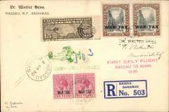 """(Bahamas) Very scarce acceptance from Bahamas for Guatemala, bs 9/1, for carriage on F/F FAM7 Resumed on Daily Basis service from Nassau to Miami where US stamp was affixed for OAT to Guatemala on FAM network, registered (label) Walter Hess corner cover dual franked Bahamas 2x1d & 2x3d War Tax opts, canc Nassau 2 Jan 30 cds, and US 15c C8 postmarked with dumb cancel, violet Miami/Jan 2/1930 double ring cds verso, red three line """"First daily Flight/Nassau to Miami/1930"""" and green two line """"First Flight/Nassau-Guatemala"""" flight cachets."""