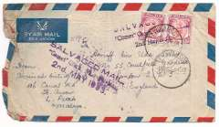 "(Recovered Interrupted Mail) BOAC COMET Jet Liner DH 106 crash on take off from Dum Dum airfield, Calcutta, on a flight from Singapore to London,, imprint etiquette airmail  cover from Perak, franked Malaya stamps 2x 35x, canc Telukanson/ 1 MAY 53 cds, two strikes Type a violet ""SALVAGED MAIL/'Comet' Crash Near Calcutta/""2nd May 1953"", Ni 530502a. In one strike there is smudging of 'Calcutta' and '1953', and in the other the imprint of 'MAIL' and Calcutta' is missing. Written up on album leaf with an unused B&W ppc, dated March 1951, of a BOAC DH 106 Comet 1 in flight."