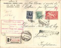 "(Uruguay) First North Atlantic sea-air service, Montevideo to London, no arrival ds, Uruguay to England, carried on the first North Atlantic sea-air service, Montevideo to London, registered (label) cover, franked 34c, canc 'Recomendata/Montevideo 5/5/36 cds, and verso Montevideo 15/5/36 cds  tied by red/white ""Servicio Postergado"" (delayed) sticker, fine strike red framed ""Primer Viaje Del/Servicio maritimo-aereo/entre/Montevideo-Lisboa-Paris-/Londres/ 6 Mayo 1936"" flight cachet, ms 'Por Via Aerea a partir de Lisboa por Massilia'. Carried by the paquebot Massilia (Compagnie de Navigation Sud-Atlantique) from Montevideo-Lisbon, then flown to London via Paris. Le Massilia was a cruise line Compagnie de Navigation Sud-Atlantique, launched in 1914."