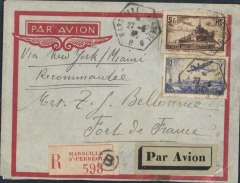"""(France) Acceptance of mail from France for Martinique, bs Fort de France 9/6, via New York 2/6, Miami 3/6, Charlotte Amalie, Virgin Islands 7/6 and San Juan 8/6. Red/grey imprint etiquette registered (label) airmail cover franked 5F &3F air, canc hexagonal Marseiile/27-6-38 ds. Carried by sea from Cherbourg to New York, then OTA by Pan Am from New York. Great routing. Ex Bergier, author """"Relations Aeropostales Entre L'Europe et L'Amerique du Nord 1919-1945""""."""