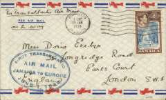 "(Jamaica) First acceptance of mail from Jamaica for the 'All Air' service to Europe, for carriage on the  F/F FAM 18 Southern( North) Atlantic route, New York-Marseilles, airmail cover franked Jamaica 2/-, canc Kingston 1 Jne 1939 cds, ms ""Per Trans Atlantic Air Mail/All the Way"", official oval blue ""First Transatlantic/Air Mail/Jamaica to Europe/June 1 1939"". Jamaica dispatches were not accepted until June 1st. This particular cover is illustrated on p177  Bergier's ""Relations Aeropostales Entre L'Europe et L'Amerique du Nord 1919-1945"". Scarce."