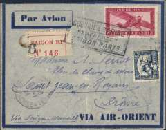 "(Recovered Interrupted Mail) Air Orient Dewoitine 332 ""Emeraude"" crash at Gwailor en route from Saigon to France, registered (label) blue/grey imprint etiquette airmail cover franked 36c air + 15c ordinary, black framed ""Courrier Rapide/'Emeraude'/Saigon-Paris"" cachet, ms 'Via Saigon-Marseille"". Ni 340106. Faint ironed vertical crease."