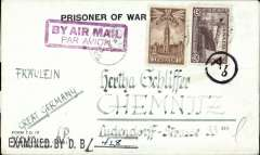 (Canada) World War II German prisoner of war northern trans Atlantic airmail from Canada to Germany, Internment Camp #132, Abbt. I, Ottawa to Chemnitz, official black/white Form I.O.17 'Prisoner of War/Base Post Office Ottawa Canada' envelope, franked 30c, canc camp 'POW/ 23 Nov 43/132' cds, thick framed magenta 'By Air Mail/Par Avion' hs, black straight line Canada 'Examined By D.B. (ms) 428' censor mark, and German black small circle with 'Ab' letter code censor mark applied on arrival. An uncommon item in particularly fine condition.