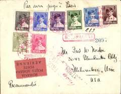 (Romania) Early airmail, Romania to United States, registered cover franked 1928 King Michael set of 8, and 1928 air set of 3, canc nice srikes of red oval Bucharest/Par Avion postmark, addressed to Milwaukee, USA, b/s Milwaukee/Wisc 23/9, red rectangular framed'Recomandat' hs, black/salmon four line airmail etiquette rated rare by Mair. Nice item in very fine condition.