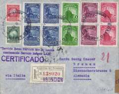 "(Paraguay) LATI registered World War II censored cover from Asuncion to Bremen, b/s 6/10/40, franked 144p, exceptionally fine violet ""Servicio Aero PANAIR Rio de Janeiro continuacion Servicio Italiano LATI"" cachet, ""Via Italia"" typed endorsement, dispatched Sep 21 to connect with Sep 28 northbound flight #SM83 from Brazil, flown by pilot Capt. Pavia in plane 1-AZUR, Frankfurt OKW censor seal. Northbound LATI mail from Paraguay is scarce. See Beith p 31 for an illustration of a cover from same correspondence. Superb LATI item."