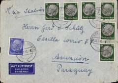 "(Germany) LATI, Germany to Paraguay, DOUBLE rate censored WWII airmail etiquette cover flown by LATI, Wesfalen to Asuncion, bs Correo Aereo/Asuncion 18/49, Via Buenos Aires, franked 325rpf, canc Wesfalen 28/3/40, ms ""Via Italien"", ms ""6g"", sealed black/white German OKW censor tape code 'e' Frankfurt. Correctly rated for 10g Germany to Argentina by LATI, 2x150rpf/5g air fee + 25rpf/20g surface (see Beith p39).  Flown Rome to Rio de Janero by LATI, then Syndicato Condor to BA, thus avoiding the British censorship on the Pan Am North Atlantic service. LATI was not extended from Rio de Janero to BA until July 1941."