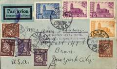 """(Finland) Finland to USA, early WWII censored air cover, Vasa to New York, no arrival ds, plain cover franked 9.7m, via Lisbon 14/10, black/light blue Finnish airmail etiquette rated uncommon by Mair, dark blue Finnish/Swedish double circle censor mark, and nice strike scarce purple boxed """"PAR SERVICE AERIEN TRANS-/ATLANTIQUE EUROPA-ETATS UNIS"""" directional hs.. This cachet was used originally on Finnish airmail sent on KLM via the Stockholm-Amsterdam-Paris route for OAT on FAM18 via Lisbon, see Boyle p340. No airmail acceptances for North America at Finnish PO's between Dec 1941 and Sept 1944, see Boyle page 340. A scarce WWII item with fine routing."""
