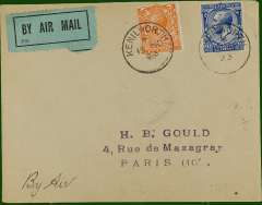 "(GB External) Early cover flown London to Paris, no arrival ds, franked 4 1/2d (2d air + 2 1/2d postage) canc Kenilworth cds, ms endorsement ""By Air"", black/green blue etiquette rated very scarce by Mair. Carried by Handley Page Transport or Instone Airlines, a nice precursor to Imperial Airways which entered the European network on 1/5/1924."