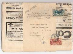 "(Belgian Congo) Rare and original unopened flown copy of the 3rd July 1936 'Paris-Congo' newspaper, Brazzaville to Chari Bangoran, via Bangui and N'dele, still in its original wrapper franked 2F & 40c Moyen Congo stamps, canc Brazzaville 8/7/36 cds, black 'Par Avion' hs and four line ""Paris-Congo/Hebdomadaire franco-belge d'informations illustrees/B.P. 321- Leopoldville-Congo Belge/B.P. 43 Brazzaville- A.E.F."" hs, addressed to the 'Chef du Subdivision, N'Dele, per Bangui/Chari Bangoran'. Flown by Air Afrique or Sabena from Brazzaville to Bangui or Fort Archambault on the Brazzaville-Algiers service, then surface to destination."