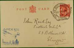 (GB Internal) Apex International Air Post Exhibition, London, PC, franked 1 1/2d canc official Exhibition postmark, blue 'Apex 1934/London 7-12 May' cachet, verso full set of six Apex vignettes.