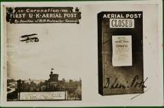 (GB Internal) Apex International Air Post Exhibition, special souvenir PPC with repro photo of 1911 Coronation PPC and Aerial Post letter box, franked 1 1/2d canc official Exhibtion postmark 8 May 34, red 'Apex 1934/London 7-12 May' cachet.