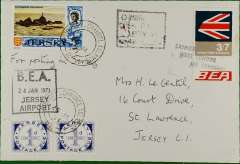 (Channel Is) BEA, London Heathrow to Jersey, mailed during the postal strike period, commercial cover bearing BEA 3/7d airway label, cancelled 'Cashier ..../West Londo/Air Terminal/...', and 3d Jersey stamp. Also Jersey 2x1d Jersey postage due stamps, canc Jersey PO, to make up the additional 5d  postal rate required for incoming mail to the Channel Islands. Interesting, see Lister pp 39,40.