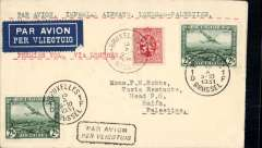 "(Belgium) Belgium acceptance for Imperial Airways F/F London to Palestine, bs Haifa 20/10, opening of new winter timetable via Tiberias, airmail etiquette cover franked 2F air x2, 25c ordinary, canc Bruxelles cds, typed ""Par Avion Imperial Airways Londres-Palestine"". Opening of the Alexandria-Haifa service, Athens-Haifa-Baghdad in one day. Scarce item."