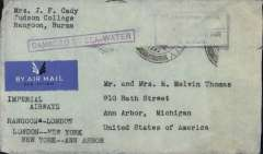 "(Recovered Interrupted Mail) Imperial Airways ""Courtier"" Short S23 flying boat, crashed Phleron Bay, Greece, plain cover from Rangoon, addressed to Anne Arbor, USA, typed 'Imperial Airways/Rangoon-London/London-New York/New York-Anne Arbor', violet boxed ""Damaged By/Sea Water"" cachet on front, Type 'd' applied to mail to England, also scarce purple type 'm' cachet ""Timbre poste perdue/en transit/Postage stamps lost/in transit, and verso flap sealed with black/brown EIIR ""Found open or damaged"" tape. Super item."