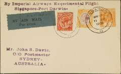 "(Singapore) Acceptance of Singapore mail for Australia, for carriage on the 1st England-Australia Experimental Airmail Service, plain cover correctly rated 46c Straits Settlement stamps, canc Singapore/G cds, bs Sydney 29/4,partial strike of Singapore black special electrical slogan postmark ""Imperial Airways Ltd/London-Australia/Air Mail/Flight"" applied verso as a dispatch postmark, black/grey blue 'P&T-Mail 25/By Air Mail' label. Plane crashed at Koepang, and mail retrieved by Kingsford Smith in 'Southern Cross. Partial strikes of the slogan postmark verso are the norm because, according to Walker (pp 59-61),  ""the pressure adjustment on the (electrical slogan canceller) machine was faulty at the time the mail was processed, it is almost impossible to find perfect specimen of this special postmark, either on the front or the back of a cover""."