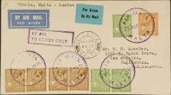 "(Malta) Flown cover from Valetta to Los Angeles, USA, inscribed ""Ursula, Malta - London"", plain airmail etiquette cover franked 3 1/2d canc violet circular  ""Air Mail Malta/25 Aug 1931"" cds and Valetta/Au 25/31/Malta"" cds, very fine strike boxed violet Jusqu'a cachet "" By Air To Genoa Only""."