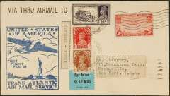 """(United States) First acceptance of mail for India for carriage to Europe on the F/F Pan Am FAM18 Southern North Atlantic route, New York to Marseiiles, bs 22/5, then OAT to India by Imperial Airways Eastbound Southampton-Sydney service SE 129 which left Marseilles on 22/5 and arrived Calcutta 25/5, then surface to Vandiperiyar (1150 miles SW Calcutta) arrival ds 31 May 1939. Plain airmail etiquette cover, franked 50c air, official blue F/F FAM18 fight cachet, black straight line """"Via Thru Airmail to (India)"""". Also franked India 9 1/2 anna, canc Surianwan 24/6 for return to UK, and black/white 'India-England' label. Nice exhibit item in pristine condition."""
