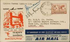 (Australia) Qantas F/F Australia-England service with Lockheed Constellation, Sydney to London, franked 1/6d, bearing special red/white/black Sydney to London label and the blue/grey 25th Anniversary label, official cover with company logo on flap, signed by Capt K.G. Jackson (flew Mascott-Karachi) and Capt D.F. McMaster (flew Karachi-London). A fine early post WWII item, see Crome pp 145/6.