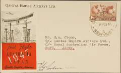 (Australia) Qantas resumed operation of Sydney-Japan service, printed company cover with winged logo verso franked 1/6d, canc Sydney 16 Dec 47 cds, bs 'AFPO 28/18 De47/RAAF Japan' cds, grey/red Australia to Japan vignette, signed by the pilot Capt. J.G.Morton.