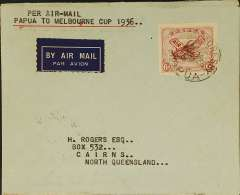 "(Papua and New Guinea) Guinea Airways Lockheed Electra special flight to the Melbourne Cup, Port Moresby to Australia, bs Brisbane 29 OC 36, airmail etiquette cover franked Papua 6d air, canc Port Moresby/Papua cds, typed ""Per Airmail/Papua to Melbourne Cup 1936""."