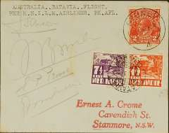 (Australia) KNILM, Sydney to Batavia, return of Dutch East Indies-Australia charter flight, plain cover addressed to E.A. Crome, posted on return, franked  DEI 71/2c & 10c canc 'Batavia/Centrum/19.1.37', verso Australia 1d, canc 'Enmore 15 JA 37' Sydney cds (the return flight left Sydney on 16 January to confirm departure. Also Sydney 4/2/ cds on front confirming return of cover to Australia (by surface). Signed by the entire crew of four. One of only 12 flown.