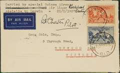 "(Australia) Guinea Airways, Adelaide to Darwin experimental survey flights, airmail etiquette cover franked 5d, canc Charleville '9am 25 FE 37', bs Cootamundra '4.15pm 25 Feb 1937', and Melbourne '26 FE 37', typed ""Carried by special Guinea Airways Air Liner (ms) 'Lockheed Electra' Adelaide to Darwin"", signed by the pilot E.C.Chater. Is this only the second cover to have been reported as having been carried on one of the Guinea Airways experimental Adelaide-Darwin survey flights?.   For a description of the other cover, see the  Australian Airmail Catalogue, 2008, #704."