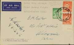 (Australia) Inter City Airways, first Sunday flight, Cobar to Broken Hill, bs 6/6, airmail etiquette cover franked 5d, canc Cobar cds, signed by the pilot H.Boston.