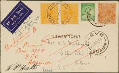(Australia) F/F Adelaide to Cleve, bs 18/4, plain cover franked 7d, canc Adelaide cds, signed pilot WP Heath.