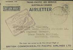 (Australia) ANA charter to British Commonwealth Pacific Airlines, Trans-Pacific Air Service Australia-Canada, bs Vancouver 'SP 18 46', KG VI 7d air letter with scarce blue souvenir overprint, violet outward flight cachet. Qantas overprinted only a small number of air letters.