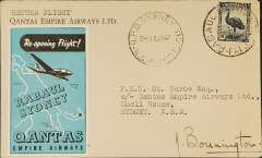(Papua and New Guinea) Qantas return flight Rabaul to Sydney,18 Jan 47 arrival ds on front, blue 'Rabaul-Sydney' vignette, signed by the pilot Capt JA Bonnington.