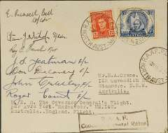 "(Australia) Duke of Gloucester's return flight to England, plain cover franked 6d, canc 'RAAF PO Darwin/19 Jan 1947', typed ""H.R.H. The Governor General's flight/per Avro York Endeavour MW140/Australia-England Flight"", black framed ""RAAF/Concessionary Postal Rates"" hs, signed by seven members of the crew."