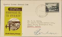 (Norfolk Is) Qantas Lancastrian F/F Norfolk Island to Australia, bs Sydney 15/10, brown/lime green vignette, signed by pilot Capt L R Ambrose.